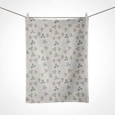 Green Autumn patterned kitchen towel