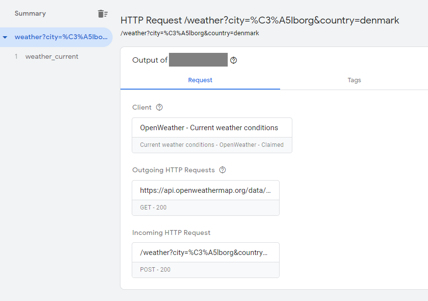 Screenshot of incoming request to GTM server-side Client