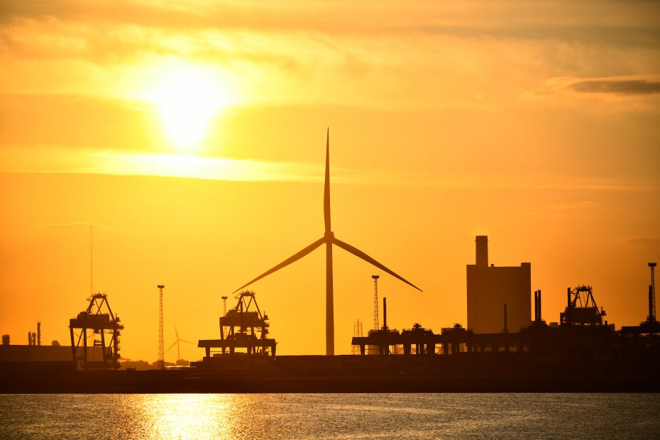 Picture of wind turbine at sunset