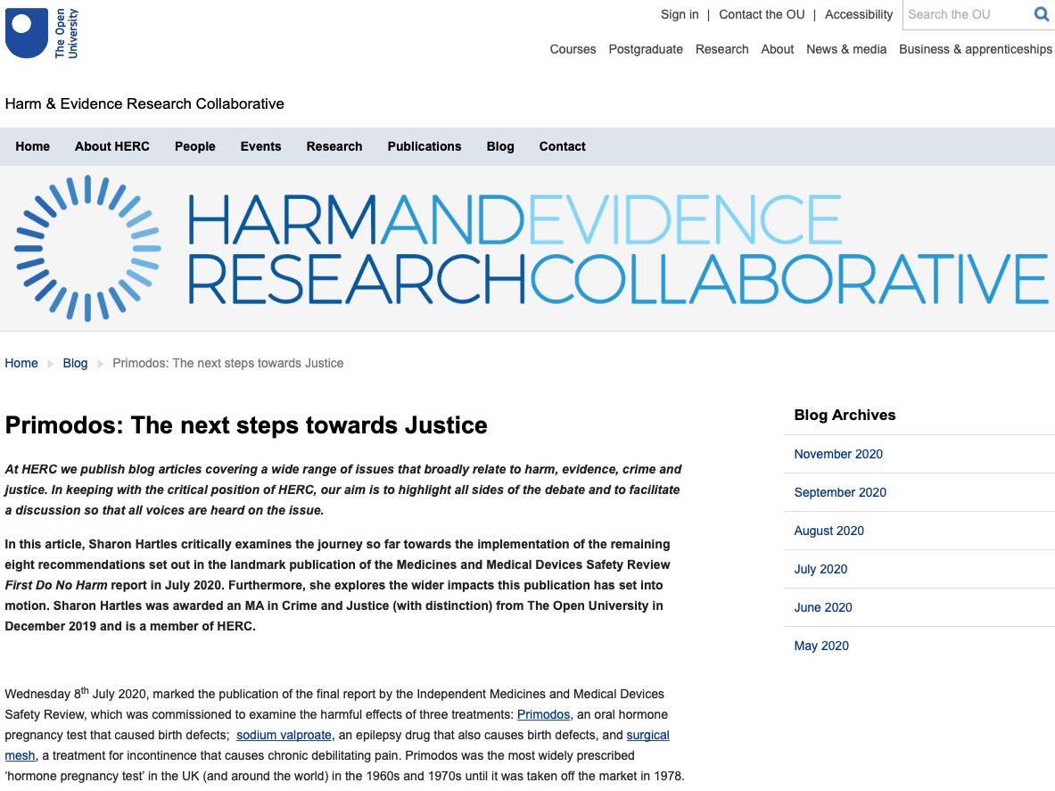 Primodos: The Next steps towards Justice