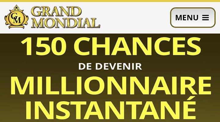 Offre de 150 tours gratuits chez Grand Mondial Casino