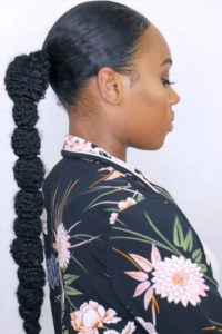 curly hair easy low ponytail styles
