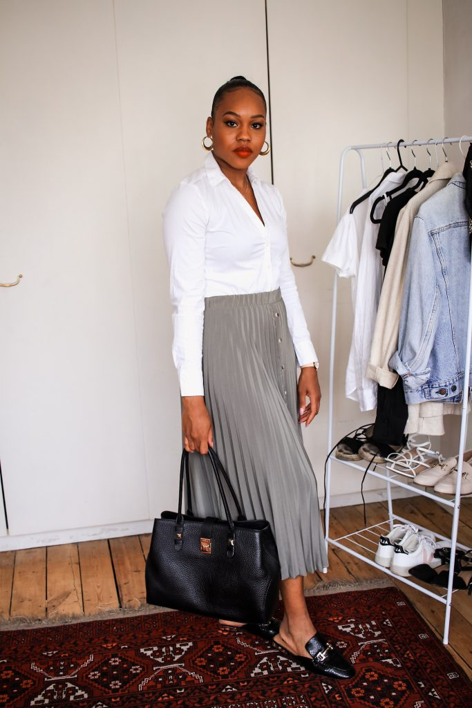 pleated midi skirt for the office