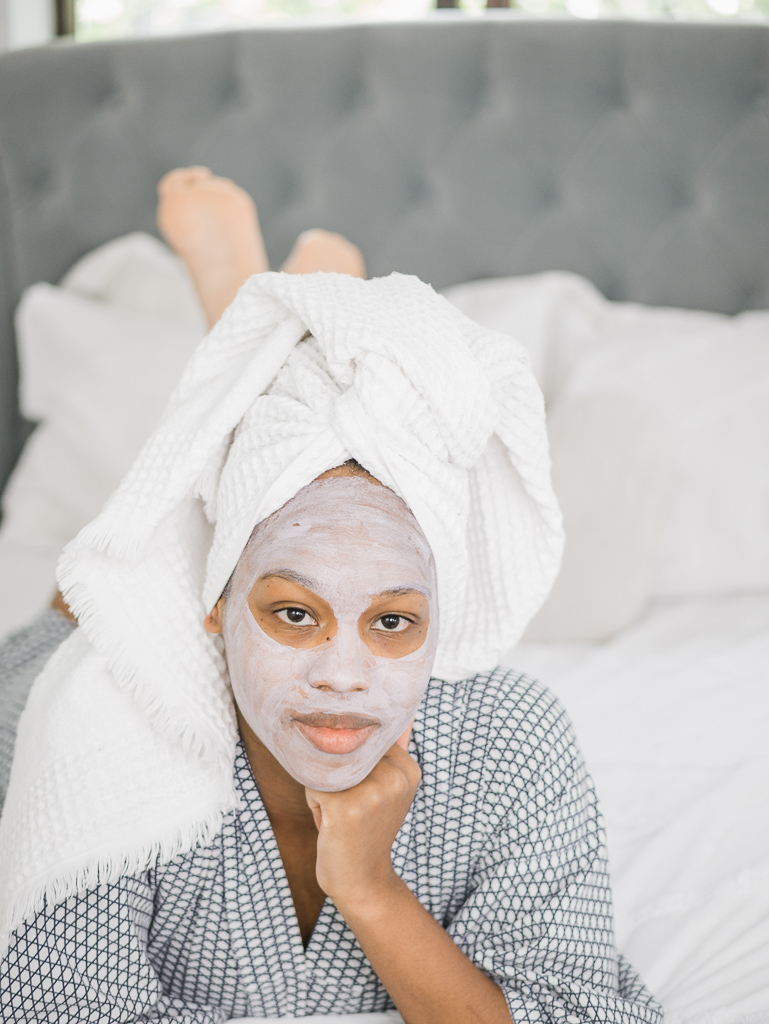 Morning skin care routine pamper day