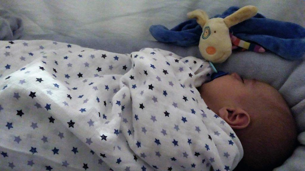 Bebé durmiendo con dou dou y arrullo de muselina