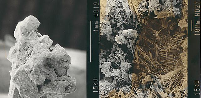 Bilden visar zeolit i närbild. Bilden till höger är tagen med elektronmikroskåp. I MCP finns ihåligheter som suger åt sig små molekyler; aromer, näringsämnen och ammoniak mm.