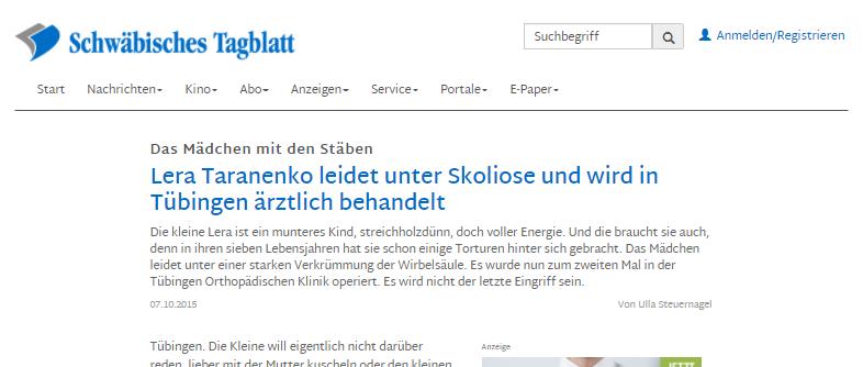 Schwäbisches Tagblatt über Raduga und Lena Taranenko