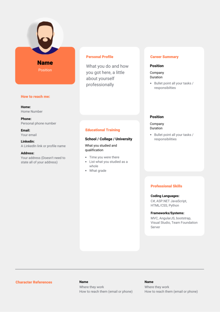 Orange and Black Professional Resume