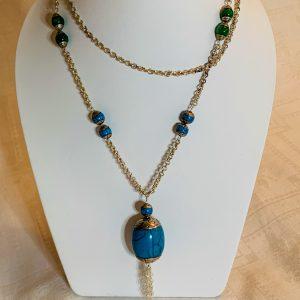 XL halsband av färgade turkoser och handgjord silver.
