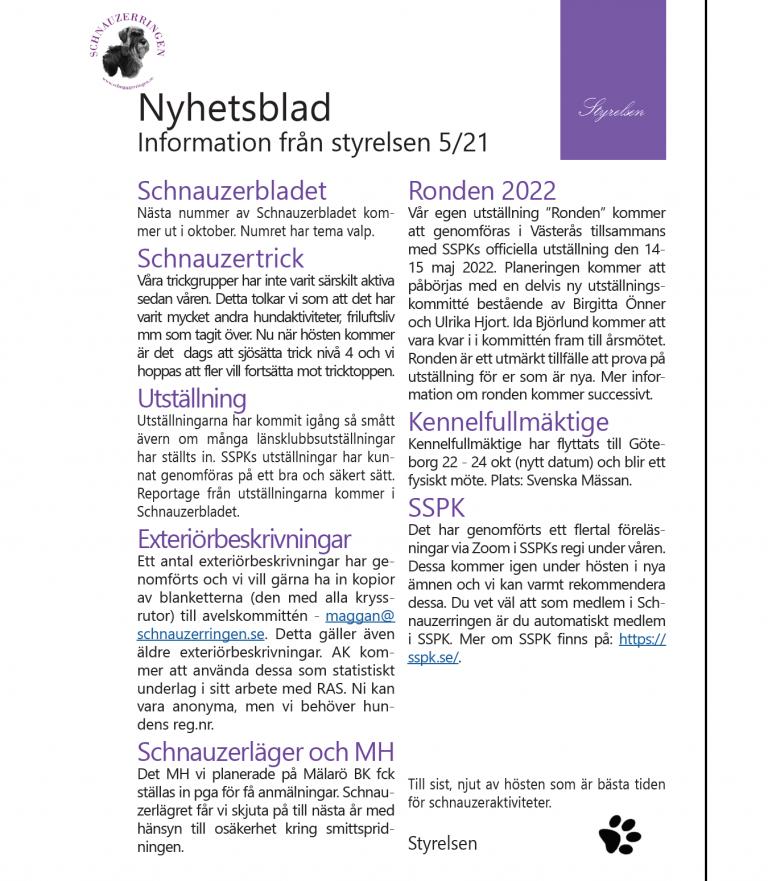 Nyhetsblad nr 5