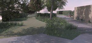 moderne woning met zwemvijver tuinontwerp met landelijk karakter