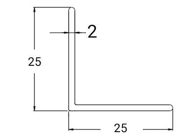Ydre Hjørneprofil 25x25