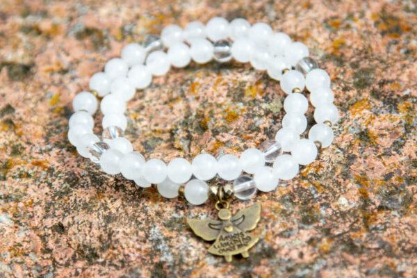 54 sten mala armbånd i hvid med engel