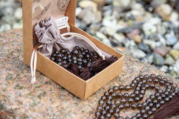 Røgkvarts mala kit - lav din egen meditationskæde med krystaller