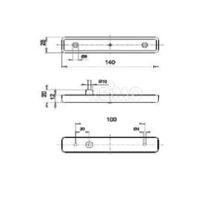 LED-Seitenmarkierungsleuchte, 12V 0,6W, gelb, 250 mm Kabel, IP67