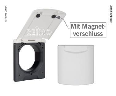 Servicesteckdose Magnet schwarz 130x145mm, Montage-DM 95mm