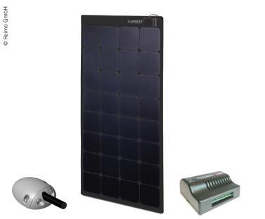 Solarpanel 12V / 110W schwarz inkl. Laderegler und Dachdurchf�hrung