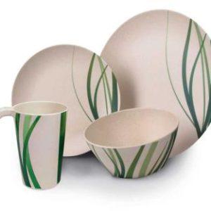 Bambus Geschirr-Set NATURE, 16tlg., f.4 Pers.,70% Bambus, 30% Melamin