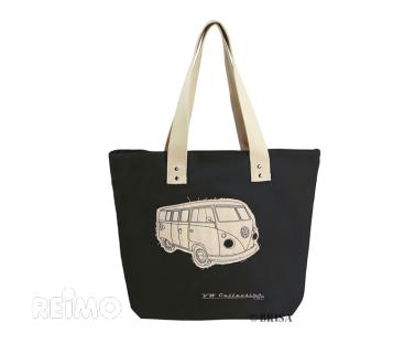 VW Collection Canvas Shopper Bag, schwarz, Ma�e 40x35x10cm