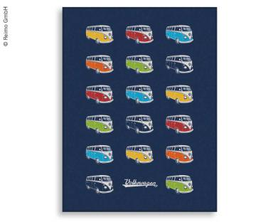 VW Collection Fleecedecke BULLI PARADE, blau, 150x200cm