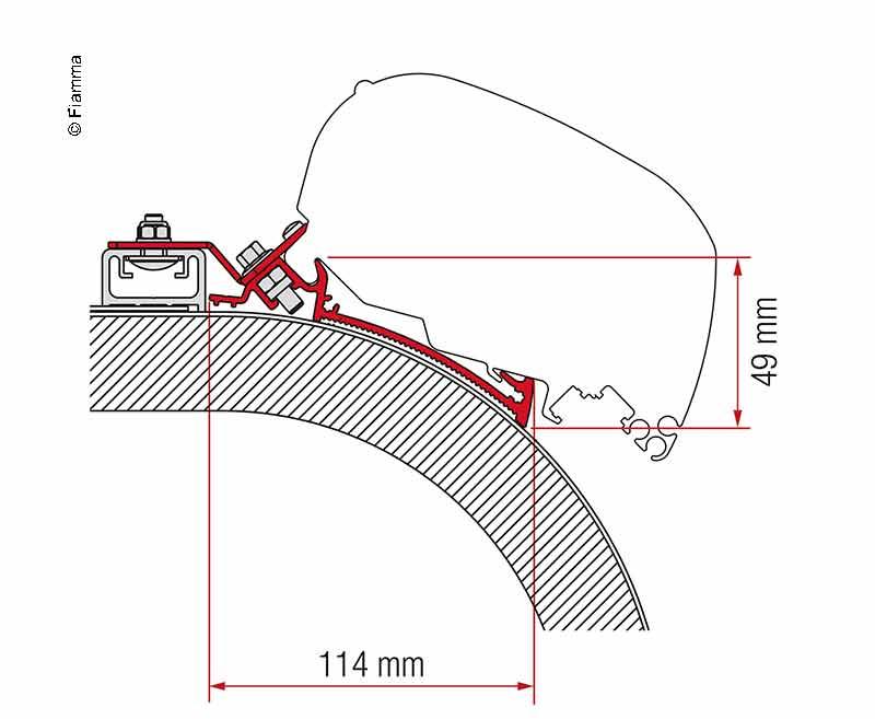 Adapter Markise F65L und F80S Rapido Distinction 450 cm