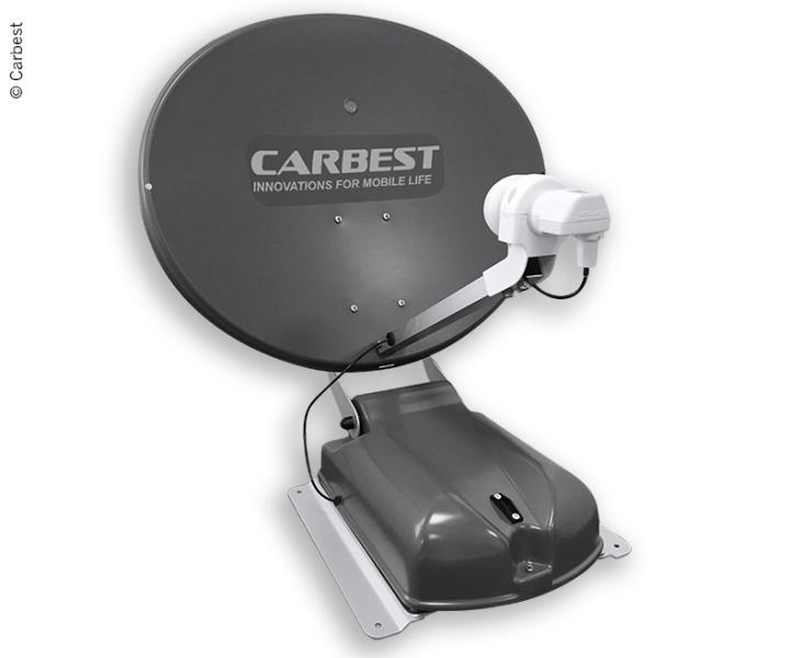 Carbest Antenne 60 DUO anthrazit, 60cm,2 Satelliten+LCD Display