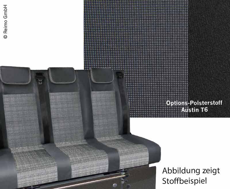 Schlafsitzbank VW T6 V3100 Gr.10 starr, 3-sitzig, Polster Austin T6 2-fbg.