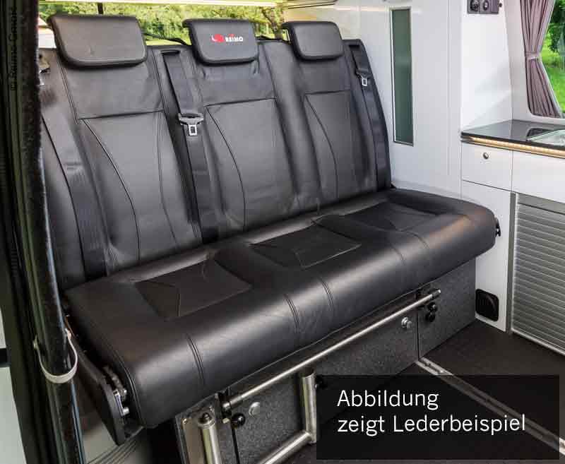 Schlafsitzbank VW T6/5 V3100 Gr.17 starr, 3-sitzig, Polster Leder 2-farbig.