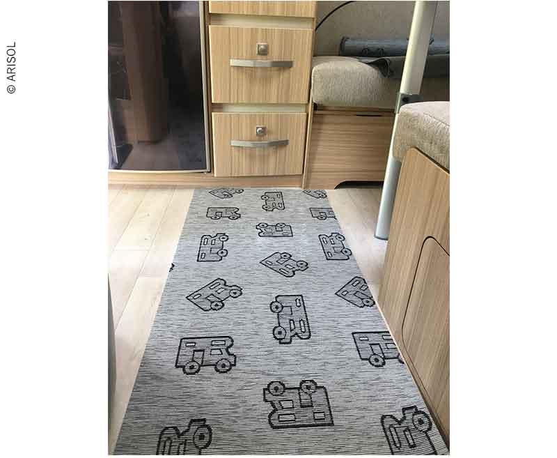 Wohnraumteppich 50x150cm grau, Muster, 45% Polyester/55% Baumwolle