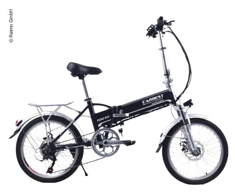 CARBEST faltbares E-Bike mit Shimano 6-Gang-Schaltung in Schwarz - REIMO