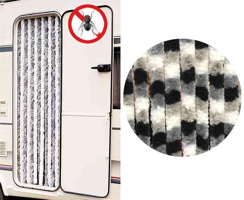 Flauschvorhang 56x185 weiß/grau/schwarz für Reisemobile u. Caravan