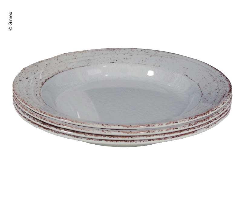 Melamin tiefe Teller-Set CASA GREY 4-tlg.