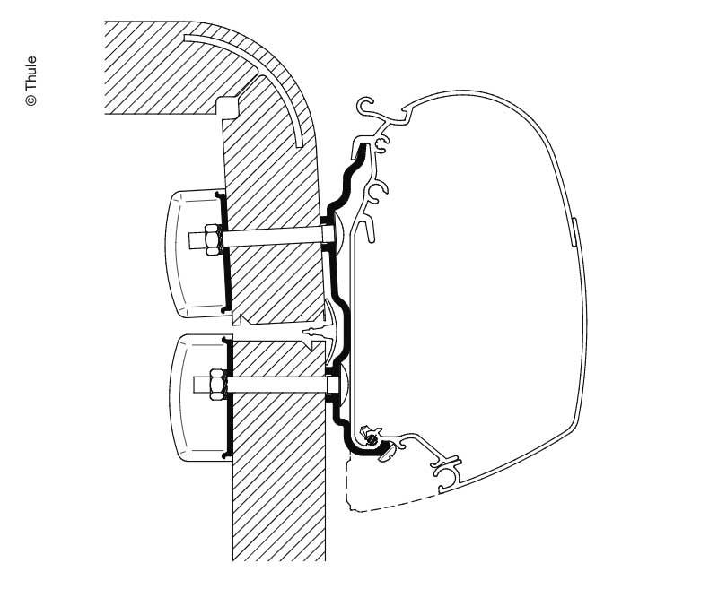 Adapter für Omnistor Markise, Hymer2016, 4,5m