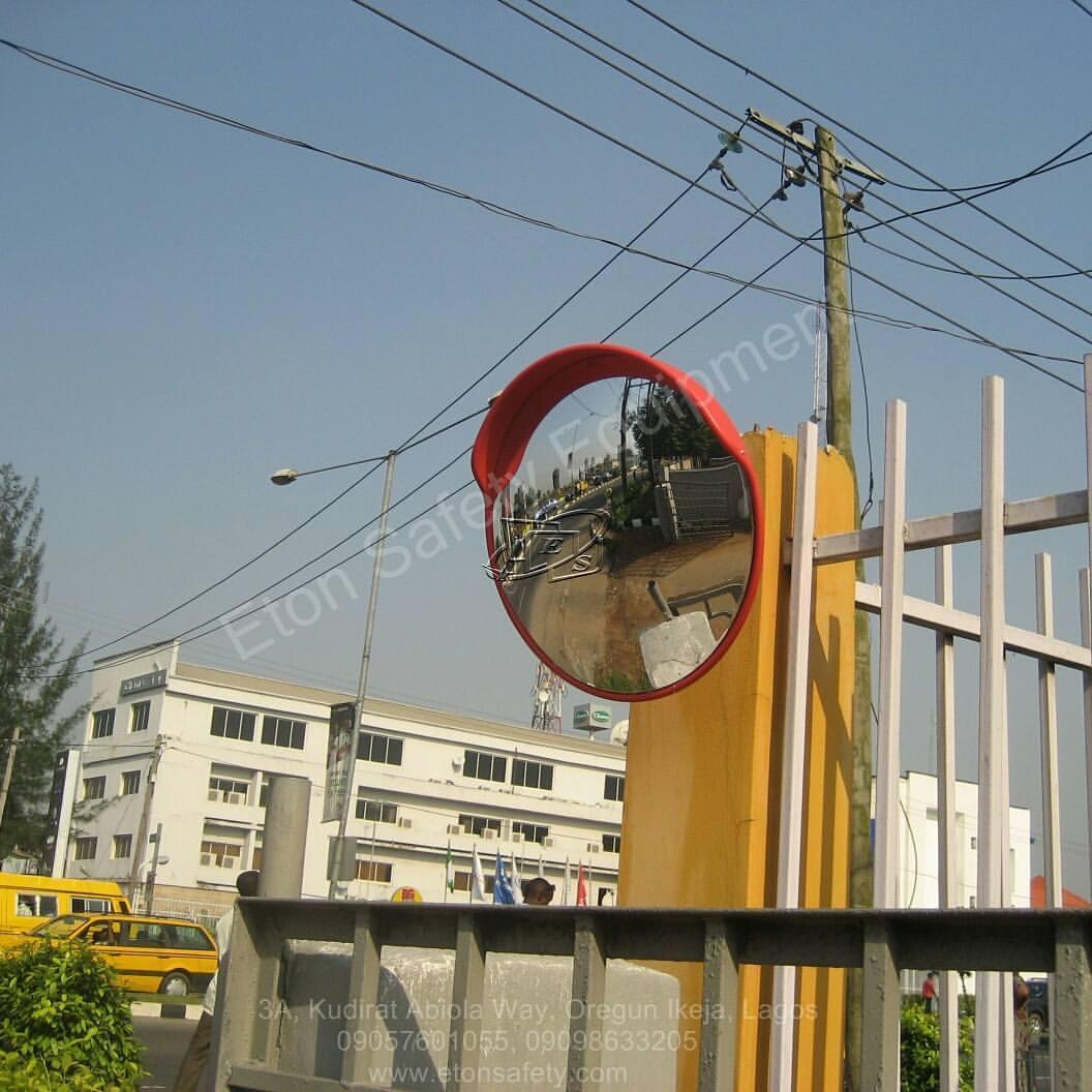 Installation of 45cm Convex Mirror at Halogen Security, Mobolaji Bank Anthony Way, Maryland, Lagos.