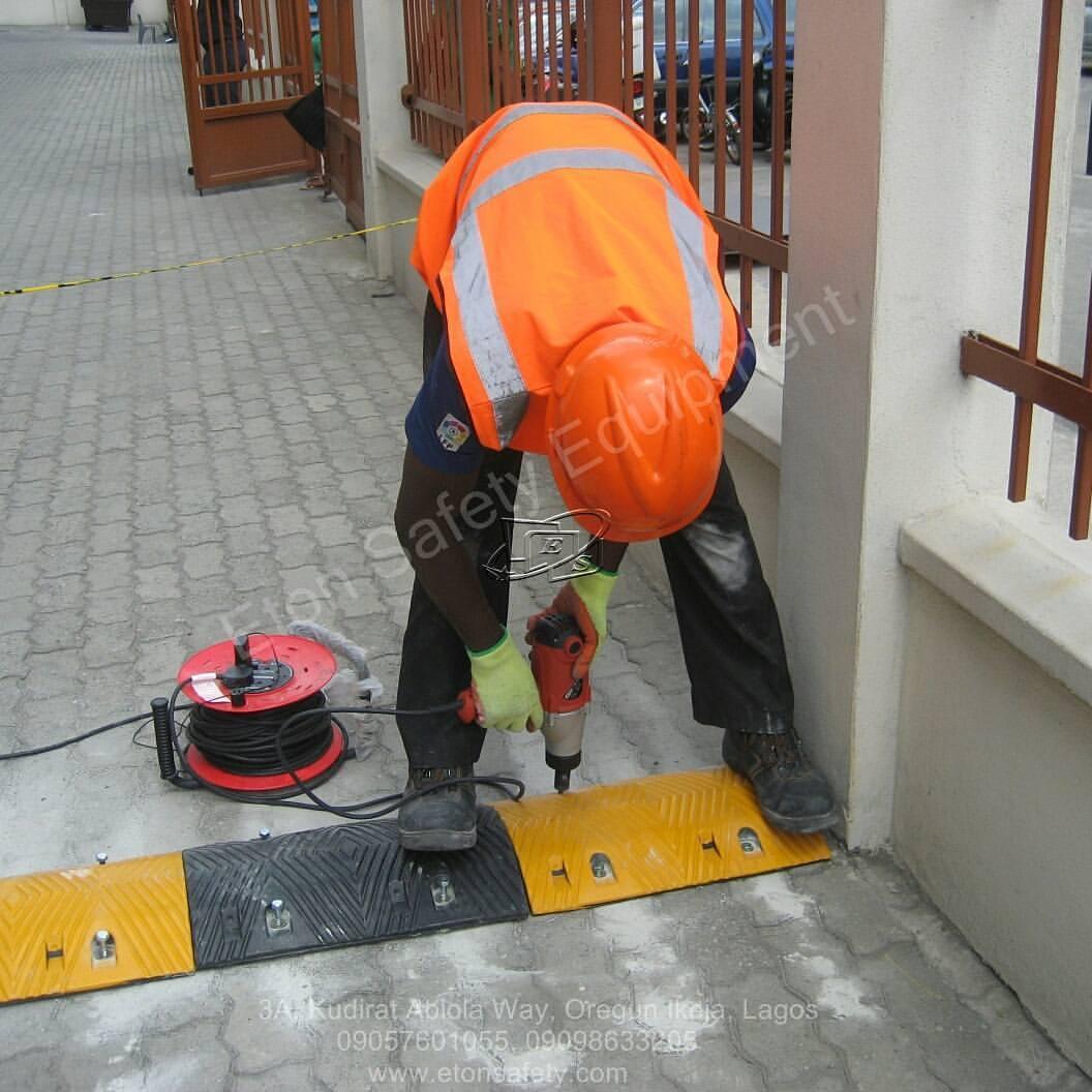 Installation of 11 meters 70mm Rubber Speed Bump at Kazuma Plaza, Apapa Lagos.