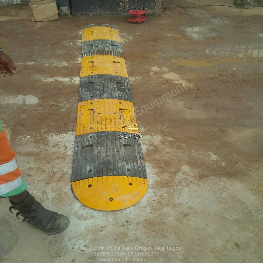 Installation of 6 meters 50mm Rubber Speed Bump at Lafarge Cement, Lusada Abeokuta, Nigeria