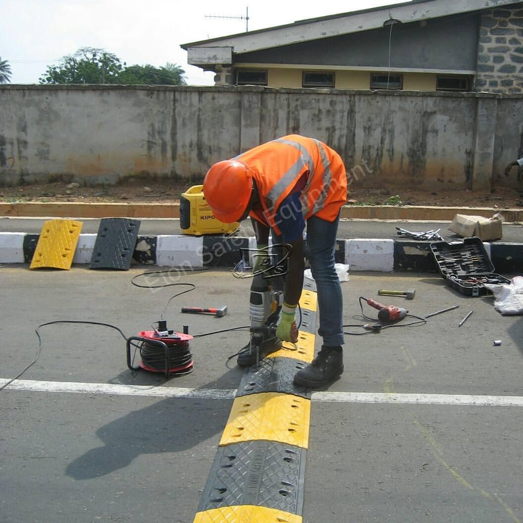 Installation of 120 meters 50mm Rubber Speed Bump at Eleyele Road, Ibadan Nigeria