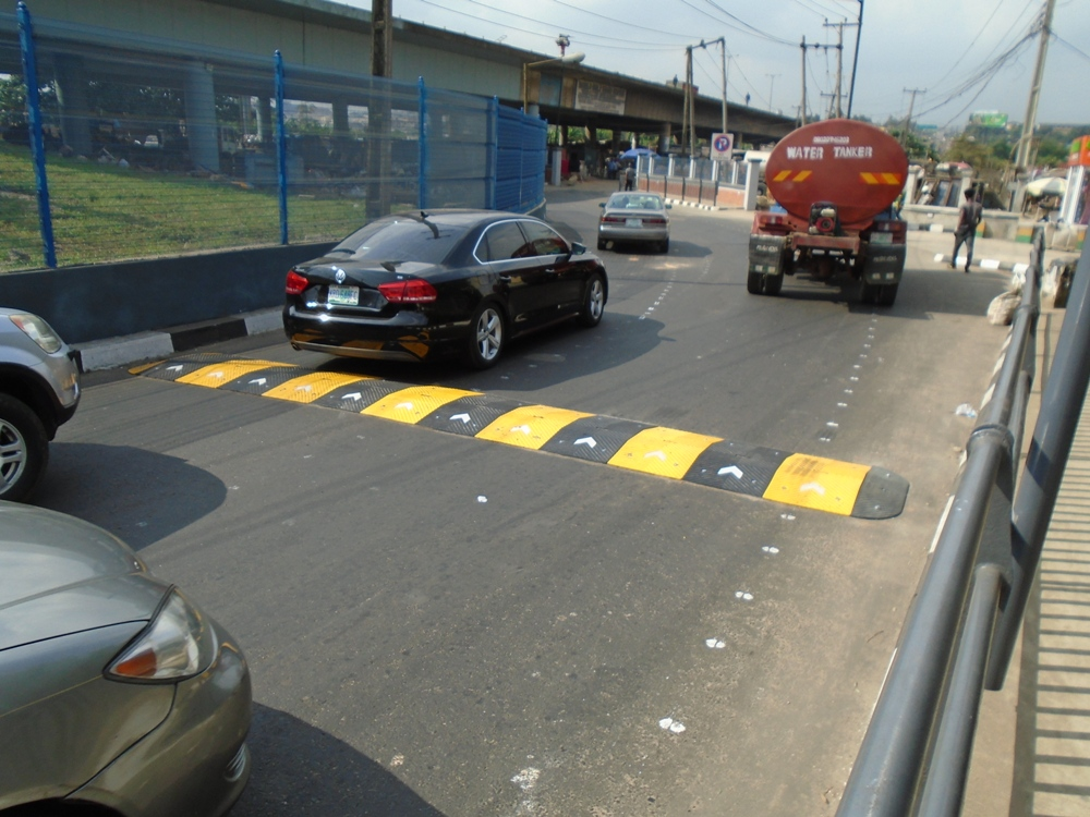Installation of 12.5 meters 75mm Rubber Speed Bump at Maryland, Lagos.