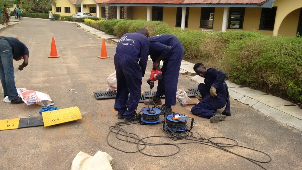 Installation of 69 meters 50mm Rubber Speed Bump at Bowen University Campus, Iwo, Osun State, Nigeria