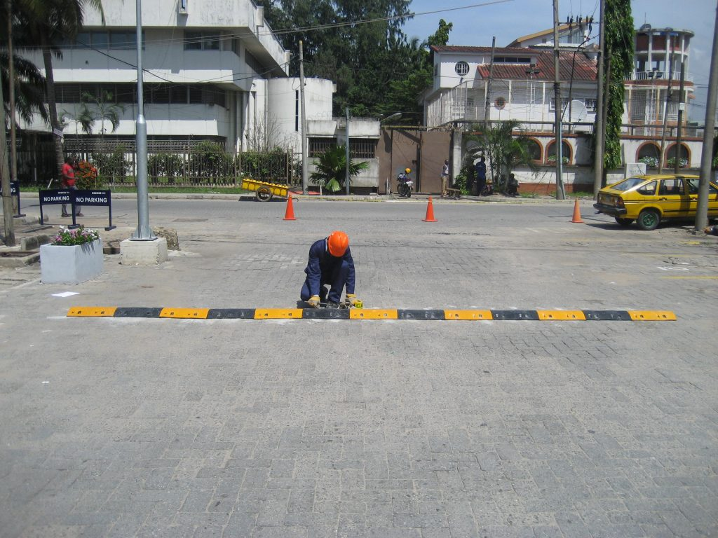 Installation of 40 meters 75mm Rubber Speed Bump at Access Bank Headquarter, V.I Lagos