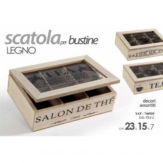 YAT/SCATOLA TEA LEGNO 23*15*7 SAL-TEA-L