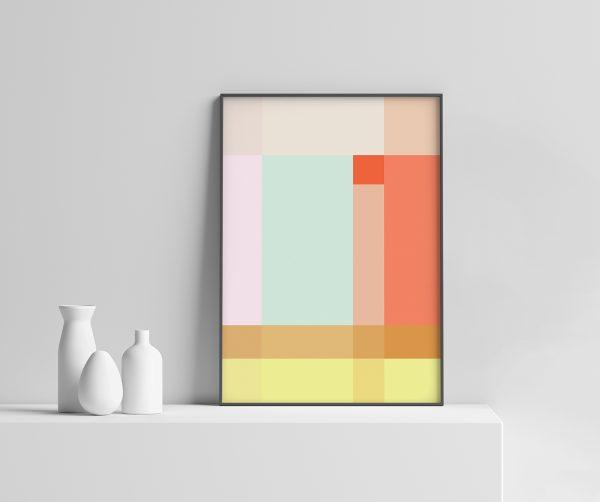 Grid Plakat geometrisk   grafisk plakat   fargerik   ramme   pastell   interiør   sorbet   av ohoi studio