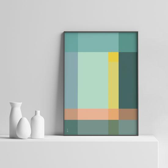 Grid Plakat geometrisk | grafisk plakat | fargerik av ohoi studio