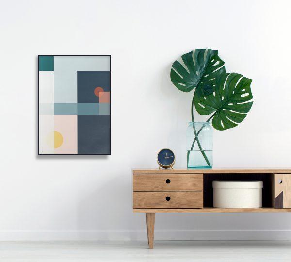 Geo Comp no. 03 plakat | geometri plakat | ramme | grafisk plakat | fargerik plakat | ohoi studio