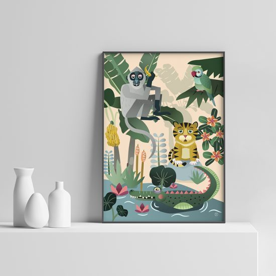 Jungeldyr Plakat | Barnerom plakater interiør til veggen tilbehør | rammer | dyr | dyremotiv | ape | tiger | jungel | undulat | krokodille |dåp | gavetips illustrasjon pastell Ohoi Studio