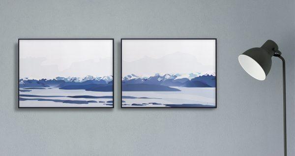Moldefjorden | moldepanorama | Romsdal | natur | Norge | plakat | norsk natur | landskap | illustrasjon | Ohoi Studio
