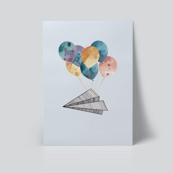 papirfly plakat | barnerom | ballonger illustrasjon pastell fødselsplakat søt ballong akvarell ohoi studio
