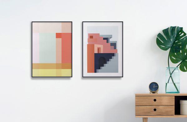 Ohoi studio grafiske plakater geometriske plakater fargerik plakat galleri arkitektur grid