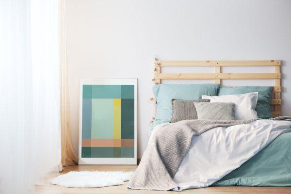 Grid Plakat geometrisk | grafisk plakat | fargerik | ramme | soverom | interiør | av ohoi studio