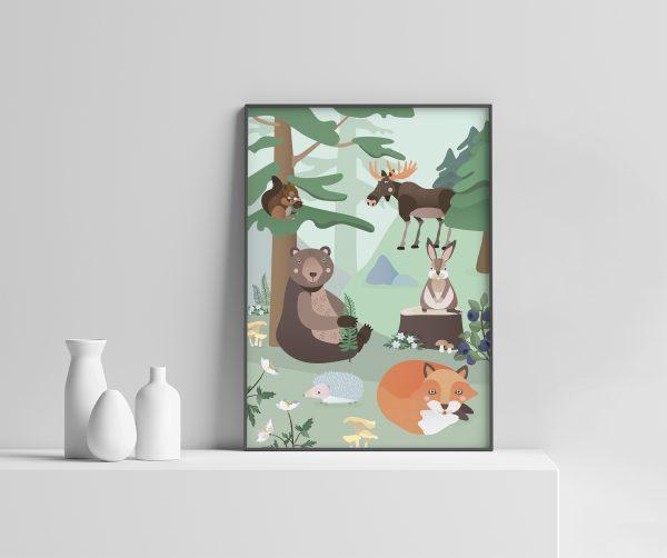 Barnerom | Skogsdyr plakat | Barnerom plakater interiør til veggen tilbehør | rammer | dyr | dyremotiv | bjørn | rev | pinnsvin | ekorn | elg | dåp | gavetips illustrasjon pastell Ohoi Studio